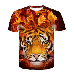 2021 китайские тигровые принты  2019 Hip Hop T-Shirt Streetwear Funny Tiger T Shirt Men Short Sleeve Tshirt Chinese Letter Print Cotton Tops Tee Ypf263