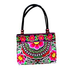 Chinesische ethnische handtaschen online-Blumendruck Frauen Vintage Tasche Chinesische Eigenschaften Stickerei Handtasche Ethnische Leinwand Holzperlen Umhängetasche