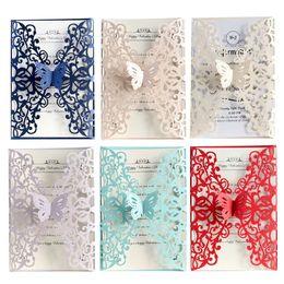 oiseaux de coupe de papier Promotion Invitations de mariage coupées au laser papillon Style européen cartes d'invitation de mariage de couverture de carte de voeux de vacances parti