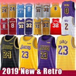 the best attitude e9c01 e1098 LeBron 23 James NCAA 24 Kobe 8 Bryant Jersey Magier Earvin 32 Johnson Lonzo  2 Ball Kyle 0 Kuzma Brandon 14 Ingram University Basketball