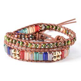 2019 кожаная ручная работа New Chakra Bracelet Fashion Jewelry Natural Stone Bead Handmade Crystal Leather Bracelet Wrap Handwork скидка кожаная ручная работа
