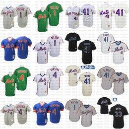 toms economici Sconti Economici New York Throwback Blu 1983 33 Matt Harvey Lenny Dykstra 4 1 Mookie Wilson 41 Tom Seaver Jersey, uomini di Mitchell E Ness