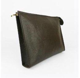 Nuova borsa da toilette da viaggio 26 cm frizione trucco di protezione da donna in vera pelle impermeabile 19 cm designer borse cosmetiche per le donne 583 da
