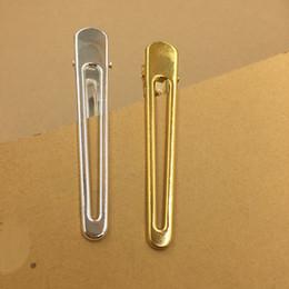 2019 silber entenschmuck 10 STÜCKE 13 * 79mm Metall Hairgrips Hohl Haarspange Gold Silber Ton Ente Clip Für Frauen Schmuck Dekoration günstig silber entenschmuck