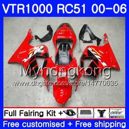 honda vtr sp1 carenagens Desconto Kit para HONDA VTR1000 RC51 SP1 SP2 00 01 02 03 04 05 06 257HM.0 RTV1000 VTR 1000 2000 2001 2002 2003 2004 2005 2006 Fábrica de Carenagem red blk