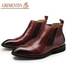 dress ankle boots for men Coupons - GRIMENTIN 2020 newest genuine leather mens dress boots brown black wedding male ankle boots for hot sale men shoes