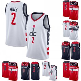 Chemises rouges basket en Ligne-NCAA John 2 Wall Basketball Jersey Sitiched Bradley 3 Beal Bleu Blanc Rouge Basketball Shirt S-XXL