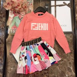 2019 chándal niño al por mayor fenash10 2019 Big Kids girls otoño Conjuntos de ropa Nuevo patrón Corea Tiempo libre Impresión en niños Traje Conjunto Ropa 0818