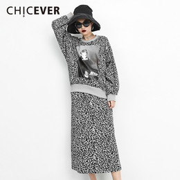 Saia de batwing on-line-das mulheres do leopardo CHICEVER Set O Neck Batwing manga comprida Imprimir Pullovers Elastic cintura alta saia de Midi roupa de forma Tide 2018