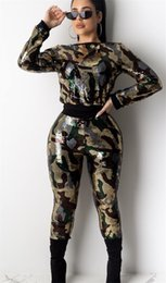 2020 donne verde di pullover dell'esercito Paillettes donne 2Pcs pantaloni mimetici stampati pullover del lungo Sects manica pantaloni pieni Fashion Casual Womens Abbigliamento donne verde di pullover dell'esercito economici
