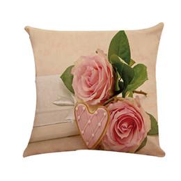 Dakimakura couvre en Ligne-Rose Taie D'oreiller Couverture Fleur Dakimakura Taie D'oreiller Lin Style Européen Salon Mixte Taies D'oreiller Thème Décoratif 40AP30 Taie D'oreiller
