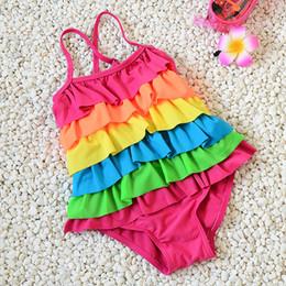 2019 sommer-art und weisebaby-badeanzug Baby-Regenbogenbadebekleidungsmode süße Sommerkindmädchensüßigkeit färbt niedlichen Lotosblatt-Badeanzug passend für 2-8T günstig sommer-art und weisebaby-badeanzug
