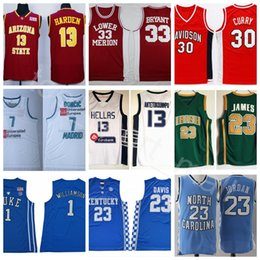 2fbae0e08fa0 College Basketball Jerseys Football All Colors LeBron Curry Luka Doncic  James Bryant Harden Michael Antetokounmpo Davis Wall Williamson Link