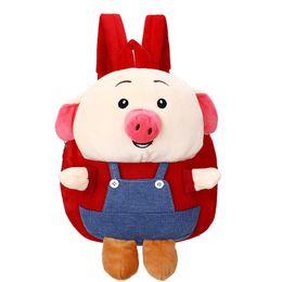 3D Cartoon Zoo series borsa per bambini carino maialino grasso Ridurre il carico spalla zaino peluche scuola materna borsa della prima infanzia da borsa di souvenir fornitori