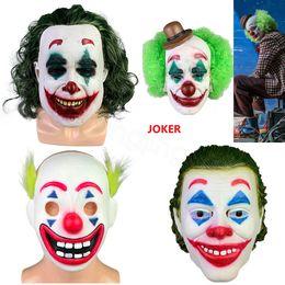2019 realistische horrormasken Joker Latex Realistische Clown-Kostüm Halloween-Maske erwachsenen Cosplay Film den Kopf voller Latex-Party Mask Grausigkeitschablone Requisiten FFA3313 rabatt realistische horrormasken