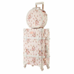 Spinner pink on-line-LeTrend Retro 26 polegadas Spinner rolamento bagagem Set rosa bonito Cabin Travel Bag Trolley Mulheres Suitcase Rodas Vintage Trunk CJ191128