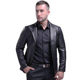 vestito di lavoro degli uomini Sconti Lusso Italiano Mens di pecora vera pelle giacca sportiva degli uomini di affari Office Work Suit monopetto Motociclista Cappotti