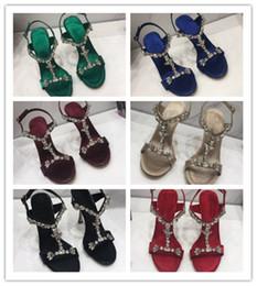 2019 adornos tacones altos Zapatos de mujer de lujo de edición superior Cuero de vaca importado buen material adorno de diamante de cristal Sandalias de tacón alto para mujeres adornos tacones altos baratos