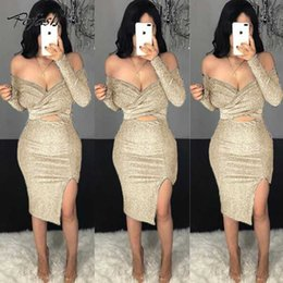 2020 vestir lurex POFASH Alças Ruched Glitter Party Dress manga comprida verde Lantejoula Ouro Lurex Bodycon vestido oco Out Midi Slit Sexy desconto vestir lurex