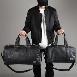 2019 bolsa de couro semana saco mulheres Marca Designer Mão Sacos Negros Mulheres Homem Weekend Bag Grande Capacidade Homens Sacos de Viagem Duffle Bolsas De Ombro De Couro À Prova D 'Água desconto bolsa de couro semana saco mulheres