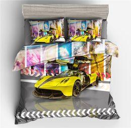 Ropa de cama queen online-Juegos de cama de impresión de autos de carreras Fundas nórdicas de edredón Fundas de almohada SL04 Twin Full Queen King Size Juego de cama 2/3 pcs