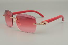 Lentes de cores naturais on-line-19 nova fábrica direto cor gravura lente, alta qualidade diamante óculos de sol 8300765 pura natural vermelho / azul / preto madeira templo óculos de sol