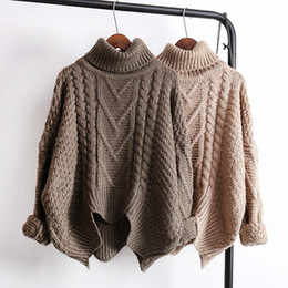 9a83a889ac Women s turtleneck thickening warm coarse wool mohair knitted long sleeve  asymmetric sweater top knitwear jumpers