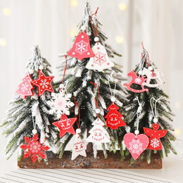 christmas tree snows Coupons - 8 styles white red Christmas tree ornament 12pcs lot wooden hanging pendants angel snow bell elk star Christmas decorations for home