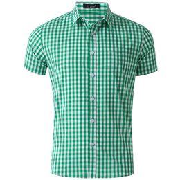 elegante camisa verde para hombre Rebajas Camisa a cuadros verde vintage con estilo para hombre Camisas de vestir de manga corta para hombre Slim Fit Cheques Gingham Chemise Homme GD27