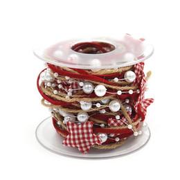 Cadena de metros online-Nuevo 5 metros de Navidad Pentagonal Star Bead Chain Ribbon Gift Packaging Hecho a mano DIY Árbol de Navidad Cinta decorativa Merry Christmas Party