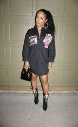 Vestido de coruja on-line-Designer dos desenhos animados A coruja Letra Impressa Lapela Pescoço Blusa Vestidos Casuais Botão de Senhoras Blusa Vestidos Casuais Vestidos de Manga Longa