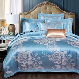 Jacquard azul comforter conjuntos on-line-2.2 * 2.4 M Conjuntos de Cama Consolador Tencel De Seda De Luxo Capa de Edredão Folha de Cama Venda Quente Rainha Rei Conjuntos de Roupa de Cama Jacquard Azuis Duplo