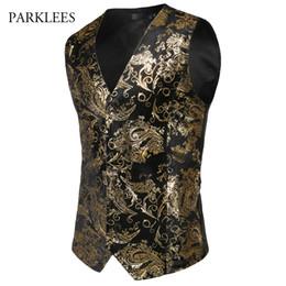 Vestito lucido degli uomini online-Steampunk Suit Vest Uomo Shiny Bronzing Paisley Flower Chaleco Hombre Slim Fit Senza maniche Matrimonio Tuxedo Dress Vest Gilet Uomo