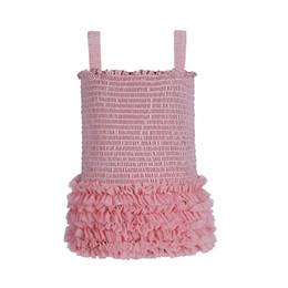 Pieghevole della camicia online-Baby Tops Girls Tees Pizzo per bambini Tight Top Abbigliamento per bambini Bolla sospesa Bubble Gauze Fold Sleeveless 41