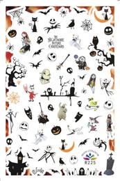 2020 arte de uñas de halloween 2 hojas de clavo etiqueta engomada de Halloween Calabaza Ghost Trick bruja Tratar atrás Transferencia de pegamento de uñas Adhesivos de vinilo decorativo Arte R225-R232 arte de uñas de halloween baratos