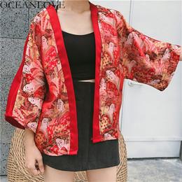 2019 kimono rojo yukata OCEANLOVE Harajuku Ukiyoe bordado Blusa Kimono rojo nueve cuartos Yukata mujeres Tops 2019 Summer Japanse camisas sueltas 11195 kimono rojo yukata baratos