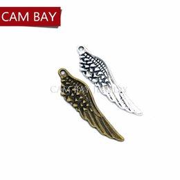 50 pezzi 2 colori argento placcato tibetano ciondolo antico ala charms creazione di gioielli fai da te artigianale fatto a mano 45 * 12mm D421 da