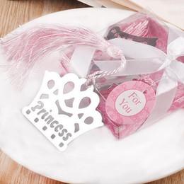 Argentina Caliente plata de acero inoxidable borlas corona marcador para la boda Baby Shower Party cumpleaños Favor regalo regalos recuerdos cheap silver bookmark tassels Suministro