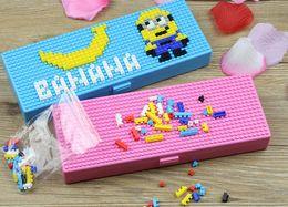 plastique interlock Promotion Multicolores Enfants jouet briques papeterie boîte enfants maternelle blocs de construction créatifs éducatifs puzzle cadeaux de papeterie pour garçons filles