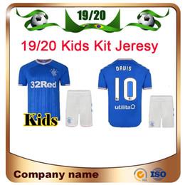 personalizzazione della camicia Sconti 2019/2020 Glasgow Rangers Kit per bambini Maglia da calcio 2019 Home blu Morelos Dorrans Maglia da calcio personalizzazione per bambini Divisa da calcio