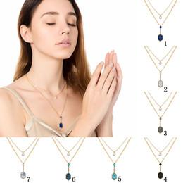 Ciondolo perle di druck online-New Shiny Druzy pietra strati collane Geometric pietra naturale Faux pearl Pendant Gold multi-layer catene Choker Per le donne Gioielli di moda