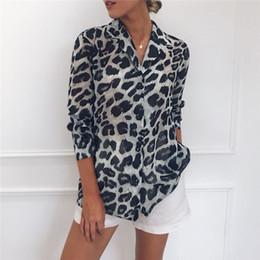Camisa de impressão de tamanho muito maior on-line-2019 Mulheres Chiffon Blusa de Manga Longa Sexy Estampa de Leopardo Blusa Turn Down Collar Senhora Escritório Camisa Túnica Casual Tops Soltos Plus Size Blusas