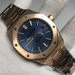 Visto meccanico online-Il fornitore della fabbrica Nuovi uomini guardano l'acciaio inossidabile automatico meccanico in oro rosa zaffiro blu royal indietro vedere attraverso querce