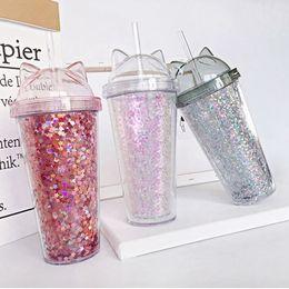 Plastica ps online-Scintillio dell'orecchio doppia tazza di tè del latte per bambini del fumetto del bambino carino tazza di acqua paillettes creativo tazza di succo di paglia di plastica ZZA345