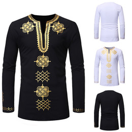african print men designs Promo Codes - NIBESSER Men African style Traditional Dashiki Long Sleeve Shirt Design Men Shirt Spring Autumn Clothing Chemise Homme