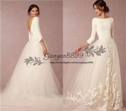 2019 Modest White Wedding Dress Eine Linie Satin Top Backless Günstige Brautkleider mit Ärmeln Einfache Vintage Design Weiche Tüllrock Sweep Zug