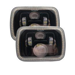 "Phares halo en Ligne-2PCS 5"" x 7"" 6x7inch Rectangular LED Headlights Halo angel eyes for Jeep Wrangler YJ Cherokee XJ Trucks 4X4 Offroad Headlamp"