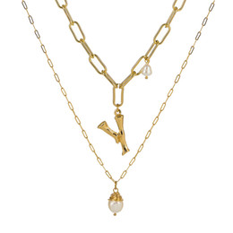 Collier initial de perles en Ligne-Bijoux de créateur de luxe femmes mens multicouche perle lettre initiale colliers glacé chaînes pendentif collier bijoux NZ431-X