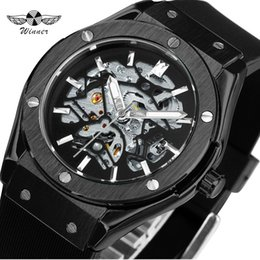 Победитель спорта скелет автоматические часы онлайн-WINNER Top  Outdoor Sports Men Automatic Mechanical Watch Rubber Strap Creative Skeleton Design Casual Wristwatch