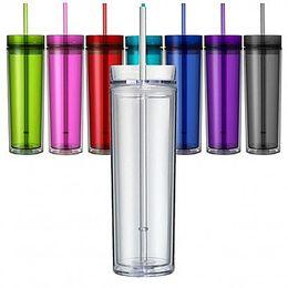 Copo acrílico magro de 16oz com tampa e palha a parede dobro de 480ml limpa o copo plástico BPA livra a garrafa de água reta 16oz caneca de viagem acrílica de Fornecedores de copos de 16 oz